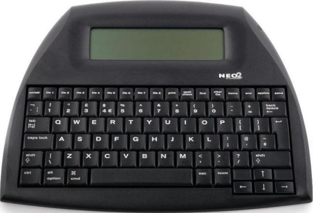 A kind of digital typewriter--basically a keyboard with a tiny calculator screen attached